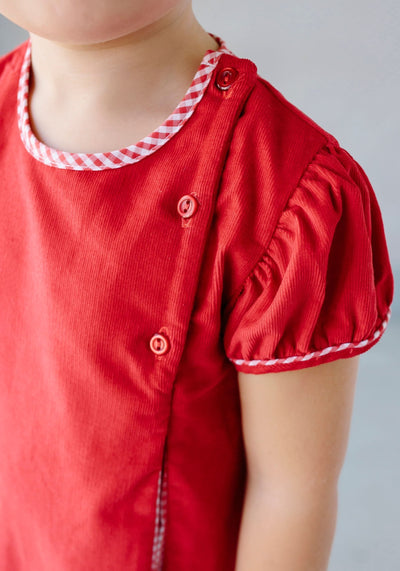 Little English classic children's clothing, girl's red corduroy Highlands Dress, traditional girl's clothing