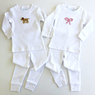 Bow Crochet Jammies, Little English, classic children's clothing, preppy children's clothing, traditional children's clothing, classic baby clothing, traditional baby clothing