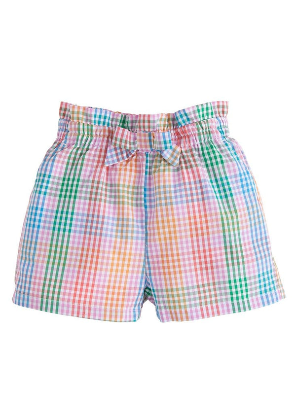 Ruffle Bow Shorts - Preppy Plaid
