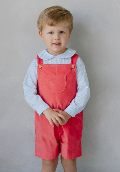 Flamingo Corduroy Jack Shortall Set, Little English Traditional Children's Clothing, boy's classic corduroy shortall set