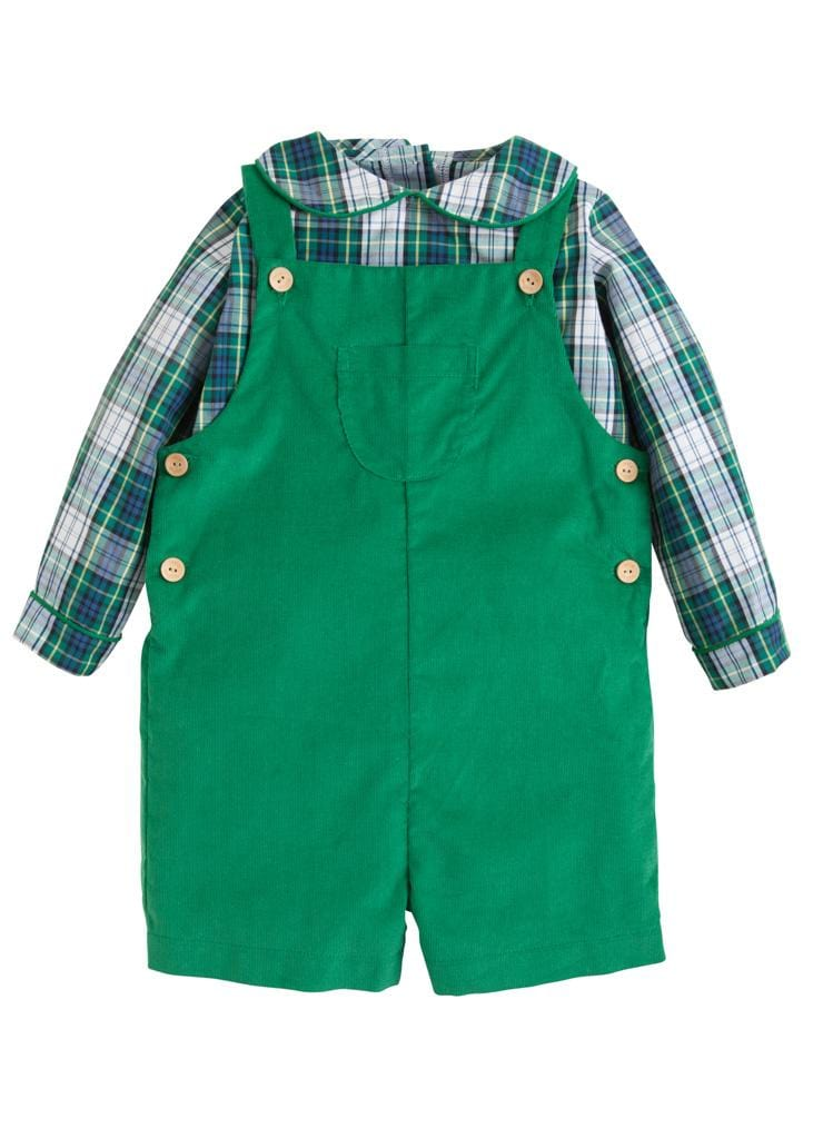 Little English classic boy's jack shortall set in green corduroy and kentucky tartan, traditional children's clothing