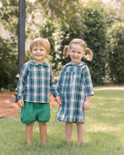 Little English classic boy's short set, green corduroy and kentucky tartan plaid, traditional children's clothing