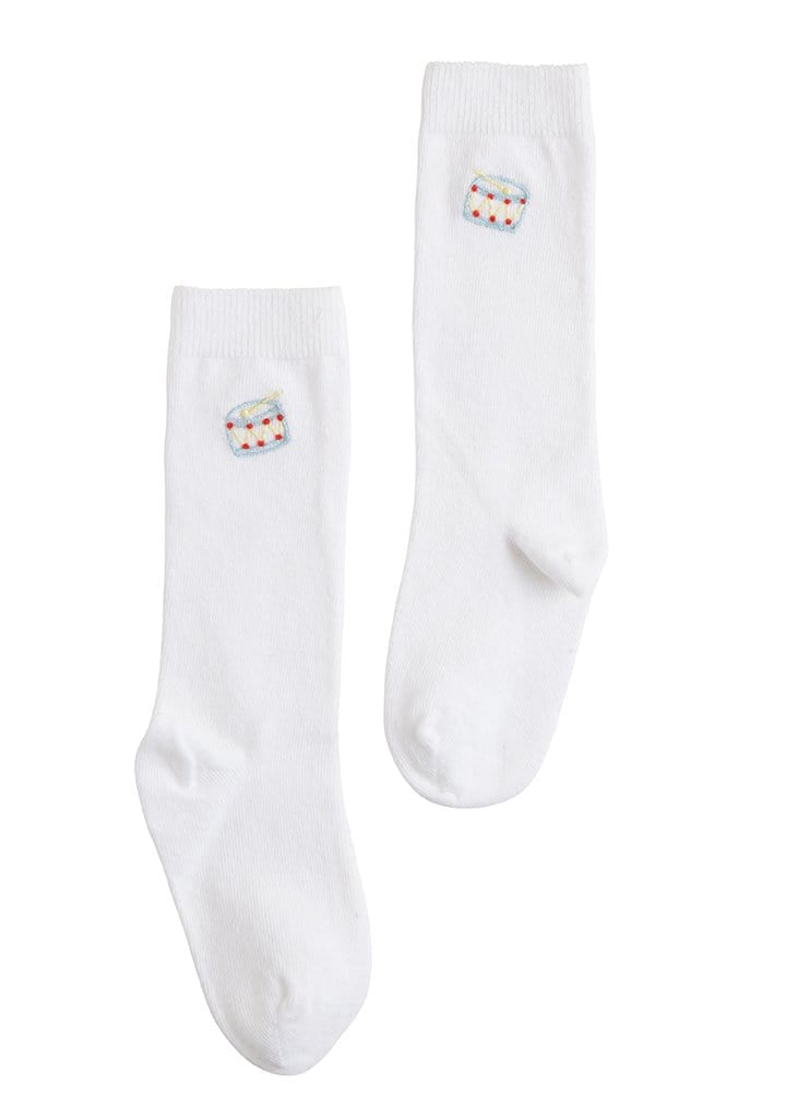 classic white knee high socks with drum embroidery