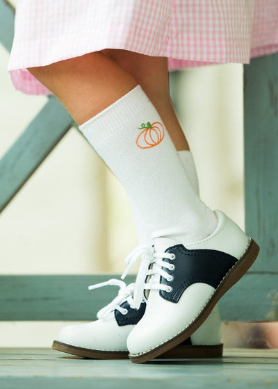 Pumpkin Knee Highs, Little English traditional children's clothing, embroidered pumpkin knee high socks