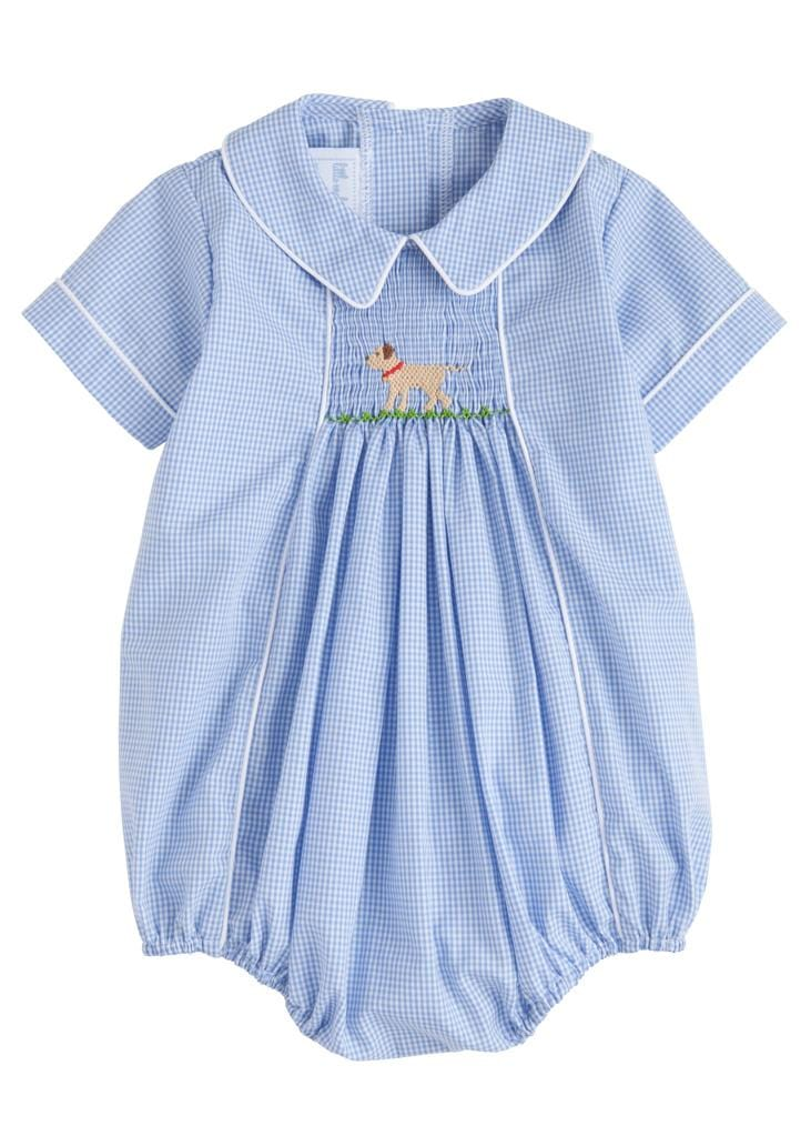 Lab Chest Smocked Bubble, Little English Traditional Children's Clothing, boy's classic blue gingham bubble