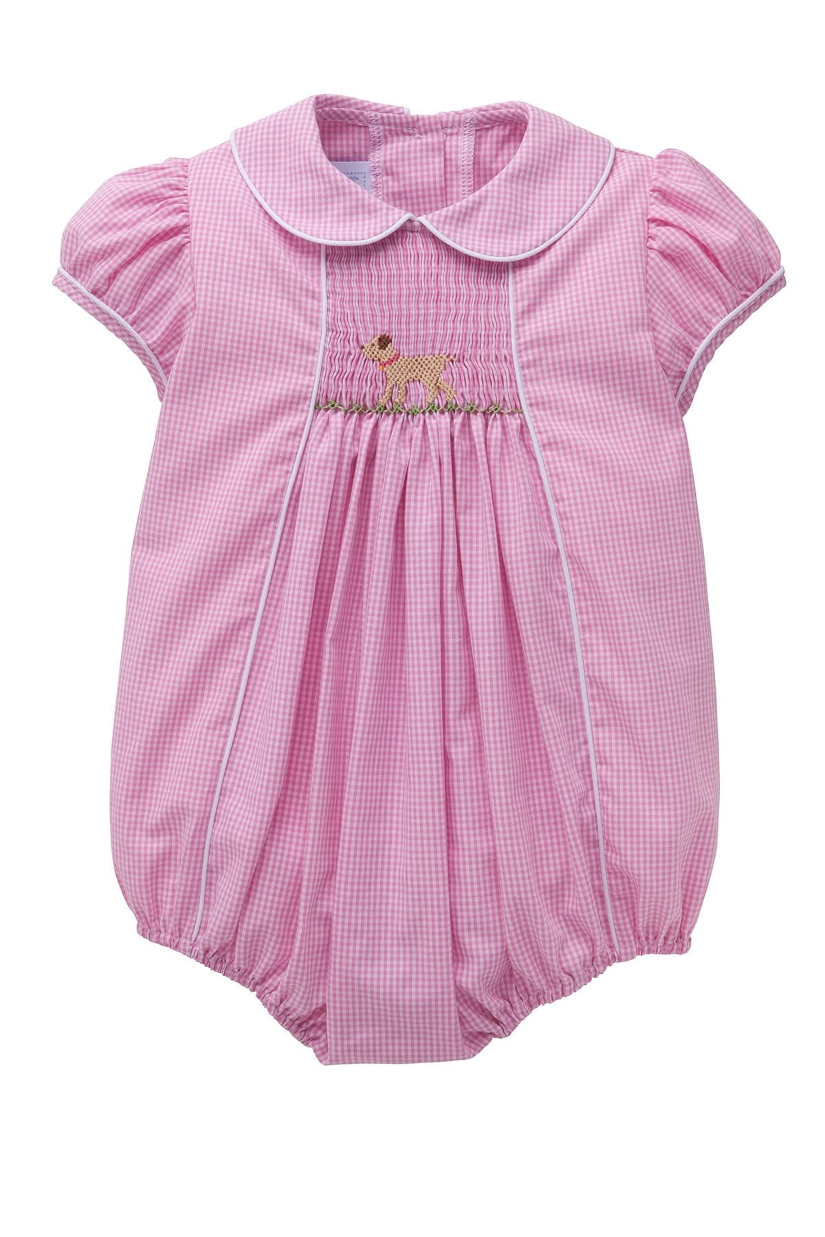 Lab Chest Smocked Bubble, Little English Traditional Children's Clothing, girl's classic pink gingham bubble