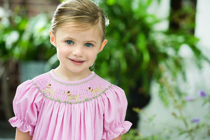 Lab Bishop Dress, Little English traditional children's clothing, light pink smocked lab dress