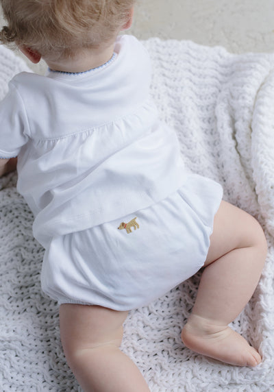 infant boys white cotton layette set
