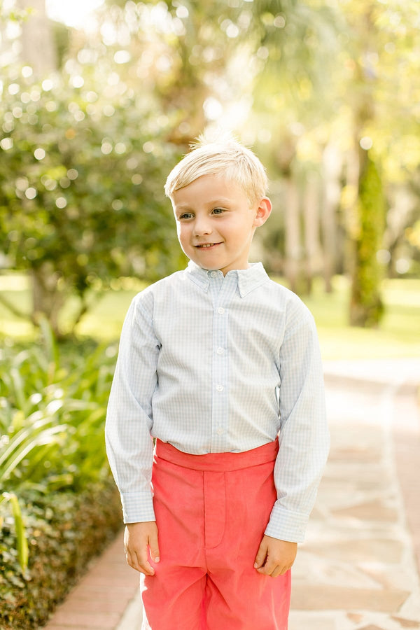 Light Blue Gingham Button Down Shirt, Little English Tradtional Children's Clothing, boy's classic button down