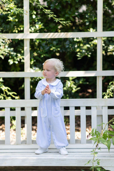 Light Blue Window Pane Romper, Little English Traditional Children's clothing, classic knit romper