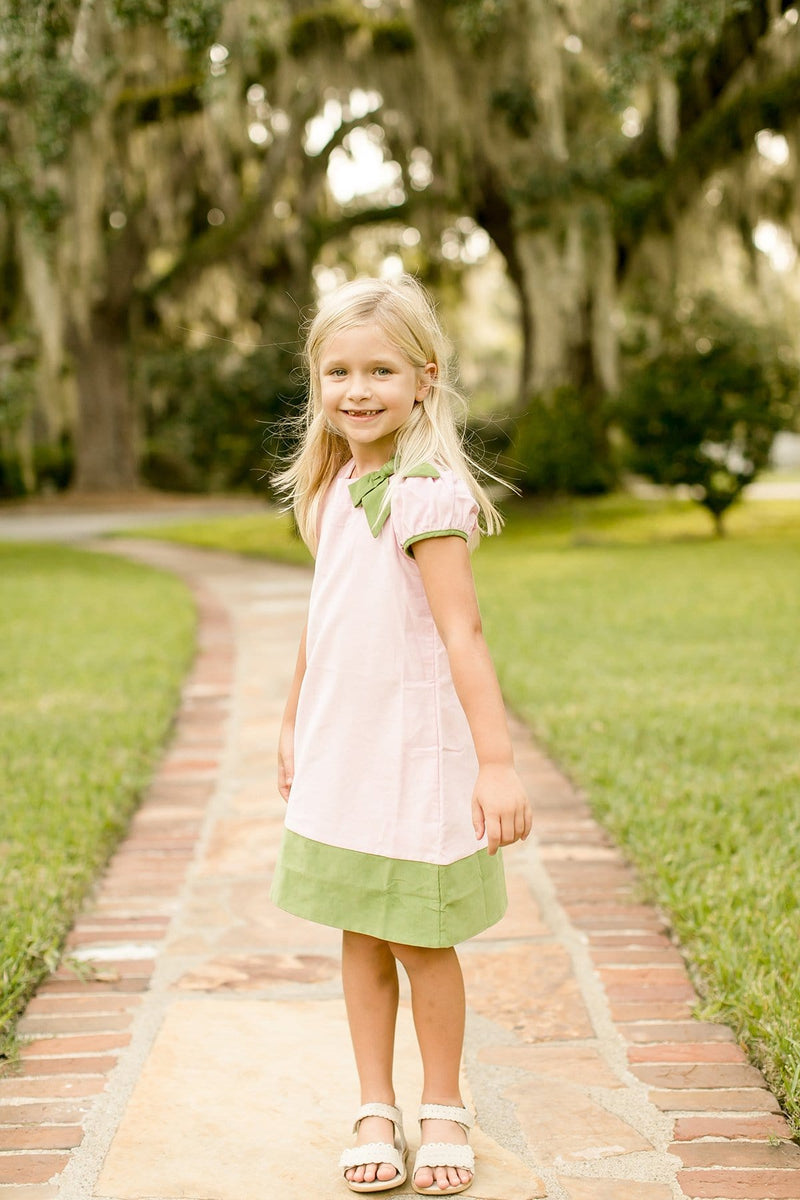 Park Avenue Dress, Little English Traditional Children's Clothing, girl's classic pink and green corduroy dress
