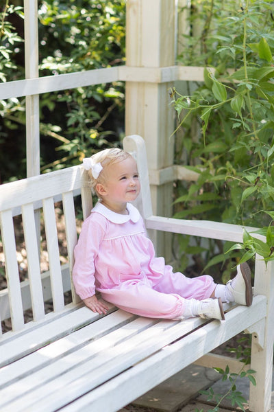 Light Pink Window Pane Romper, Little English Traditional Children's Clothing, classic knit romper