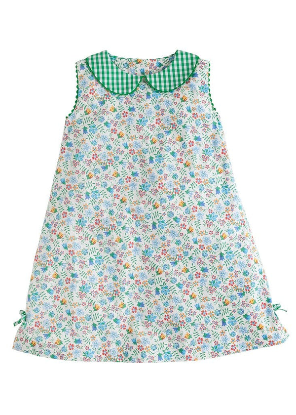 Little English classic girls green floral and gingham dress perfect for st. patrick's day