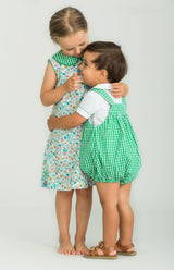 Little English boys green gingham bubble set