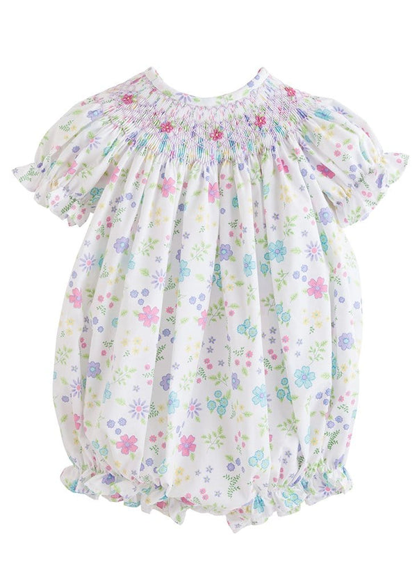 little english classic baby girl floral smocked bubble