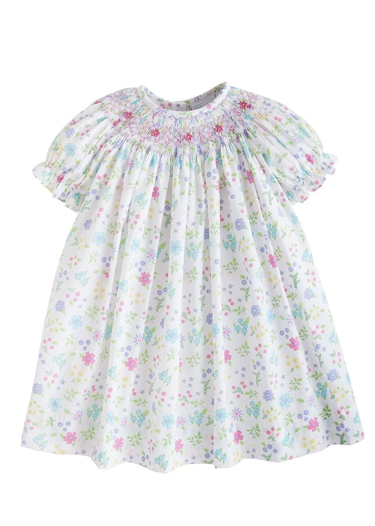 little english classic girls floral smocked bishop dress