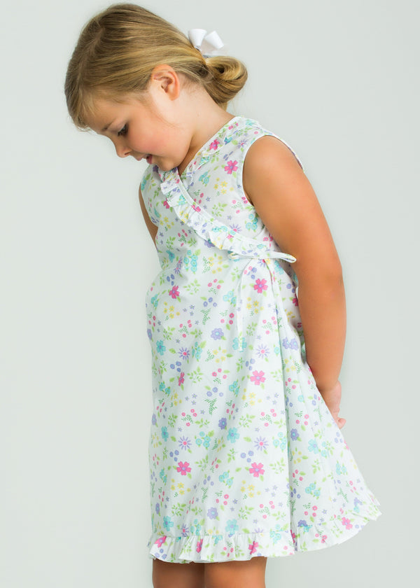 Little English girl's Linville Blooms floral wrap dress