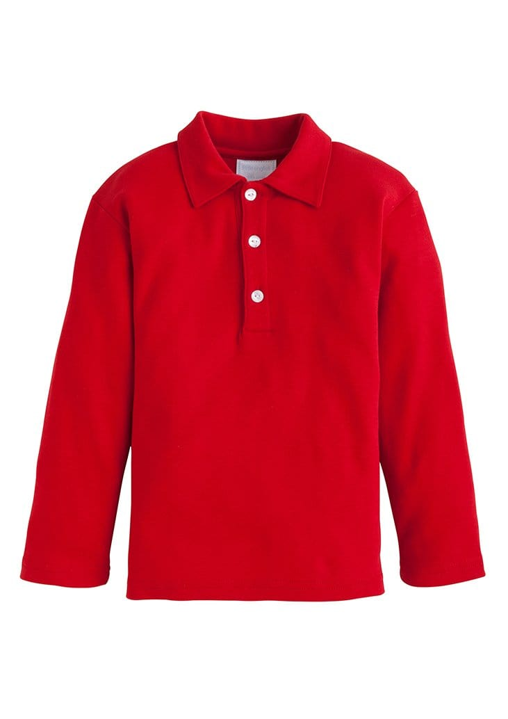 Little English classic boy's long sleeve polo shirt, traditional children's clothing