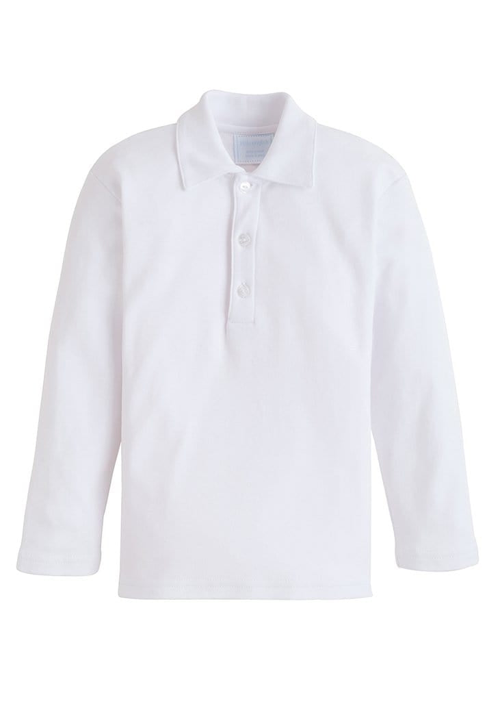 White Long Sleeve Polo, Little English Traditional Children's Clothing, boy's classic basic knit polo shirt