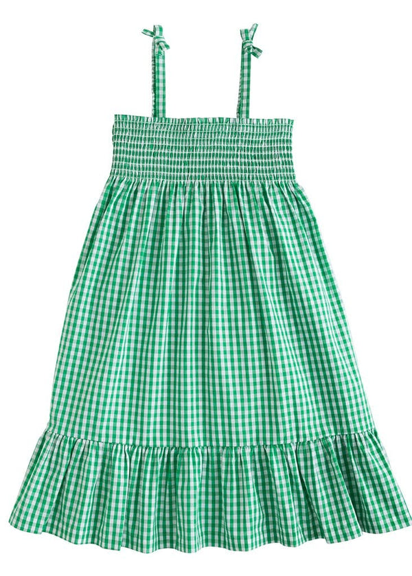 little english classic girls midi sundress in green gingham