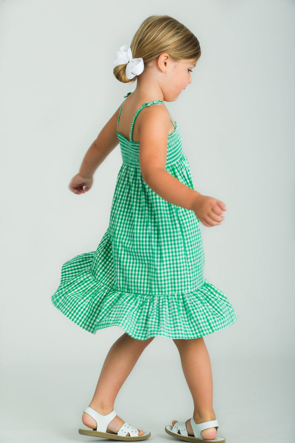 Little English Girls Green Gingham Dress