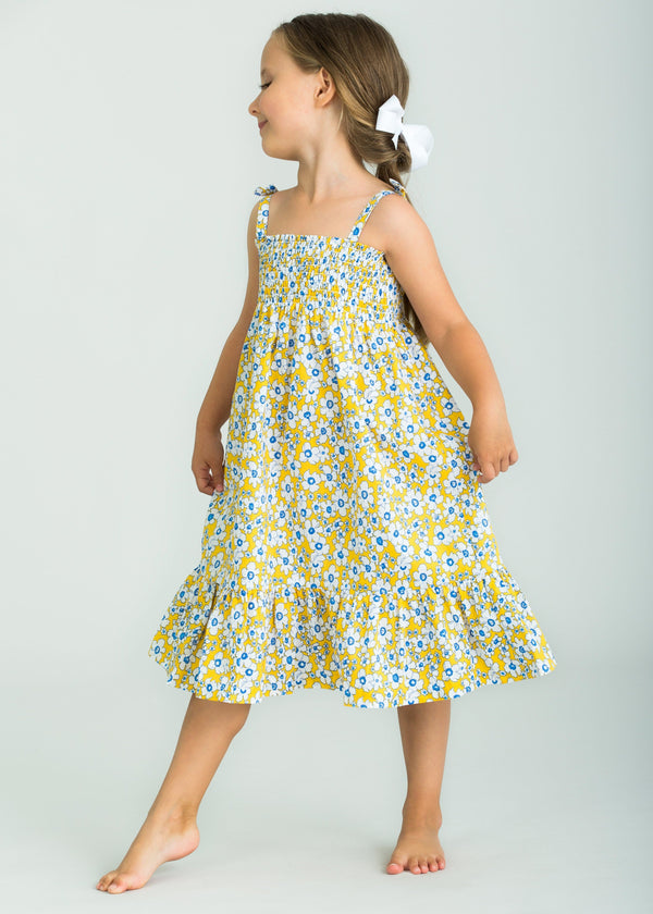 Little English Girls Yellow Daisy Dress