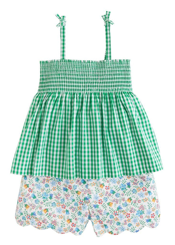 Little English girls spaghetti strap short set in green gingham and spring floral