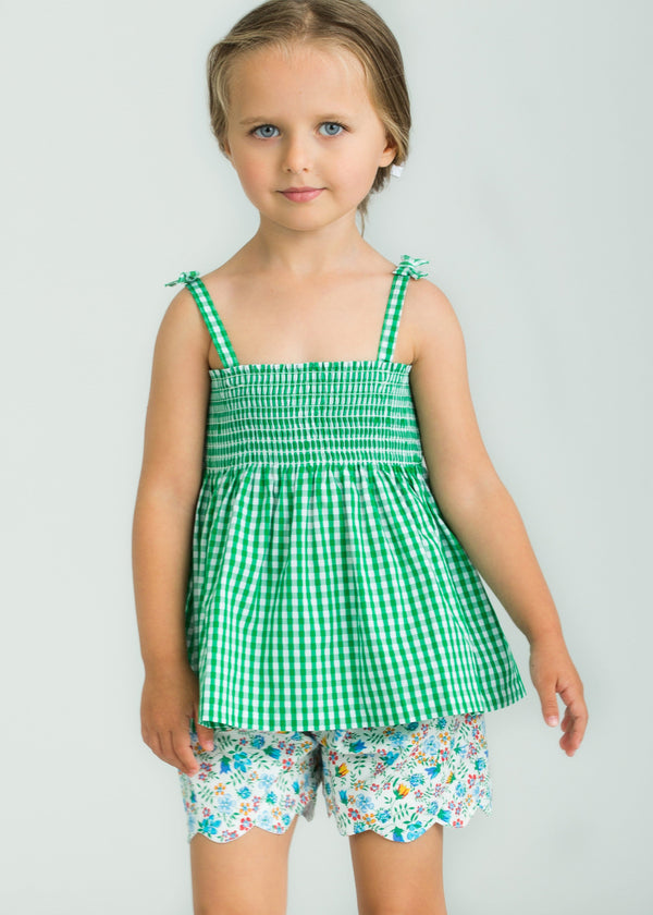 Little English Girls Green Gingham and Floral Short Set