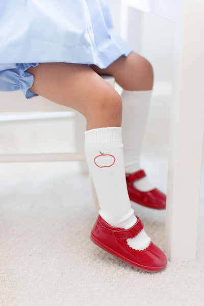 Little English classic children's clothing, traditional knee high embroidered socks