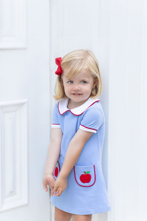 Little English classic children's clothing, girl's Apple Applique Libby Dress, light blue, traditional children's clothing