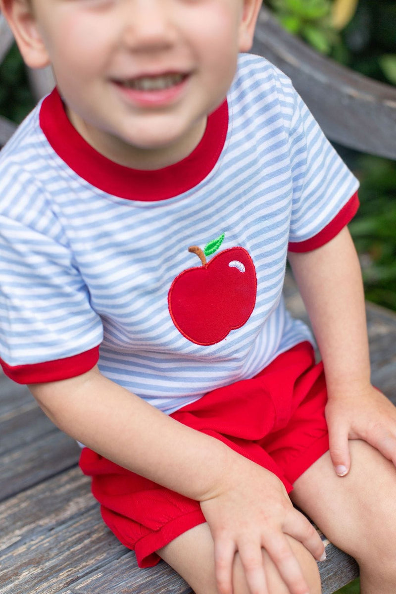 Little English classic children's clothing, boy's Apple Applique striped T-Shirt, traditional children's clothing