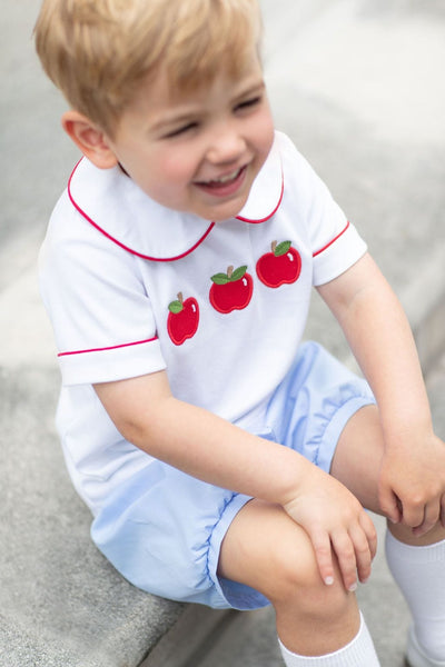 Little English classic children's clothing, boy's Apple Applique Peter Pan Short Set, traditional children's clothing