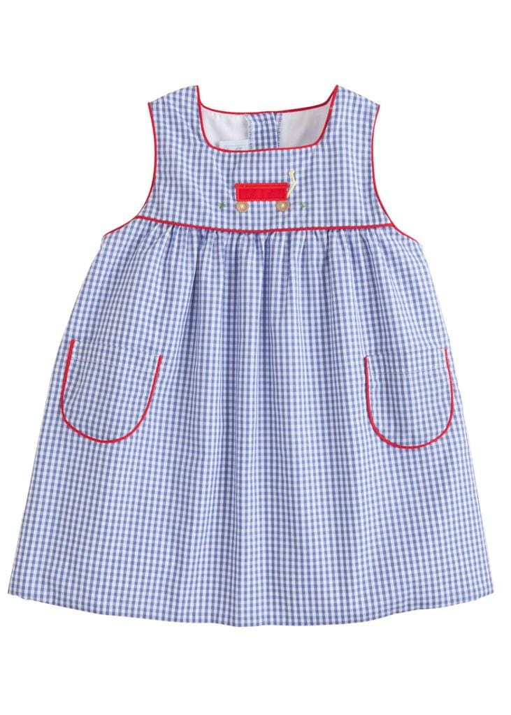 Wagon Madison Jumper, Little English Traditional Children's Clothing, Girl's Classic Blue Gingham Jumper