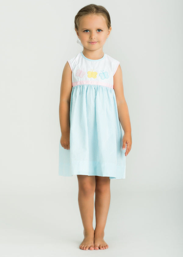 Little English classic girl's applique butterfly dress