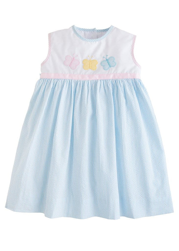 little english classic girls spring seersucker dress with butterfly applique