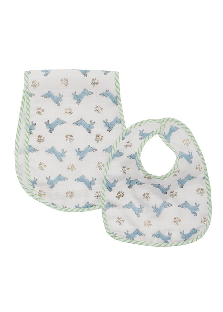 Muslin Bib and Burp Set - Blue Bunny, Little English, classic children's clothing, preppy children's clothing, traditional children's clothing, classic baby clothing, traditional baby clothing