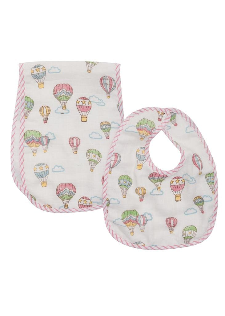 Muslin Bib and Burp Set - Hot Air Balloon, Little English, classic children's clothing, preppy children's clothing, traditional children's clothing, classic baby clothing, traditional baby clothing
