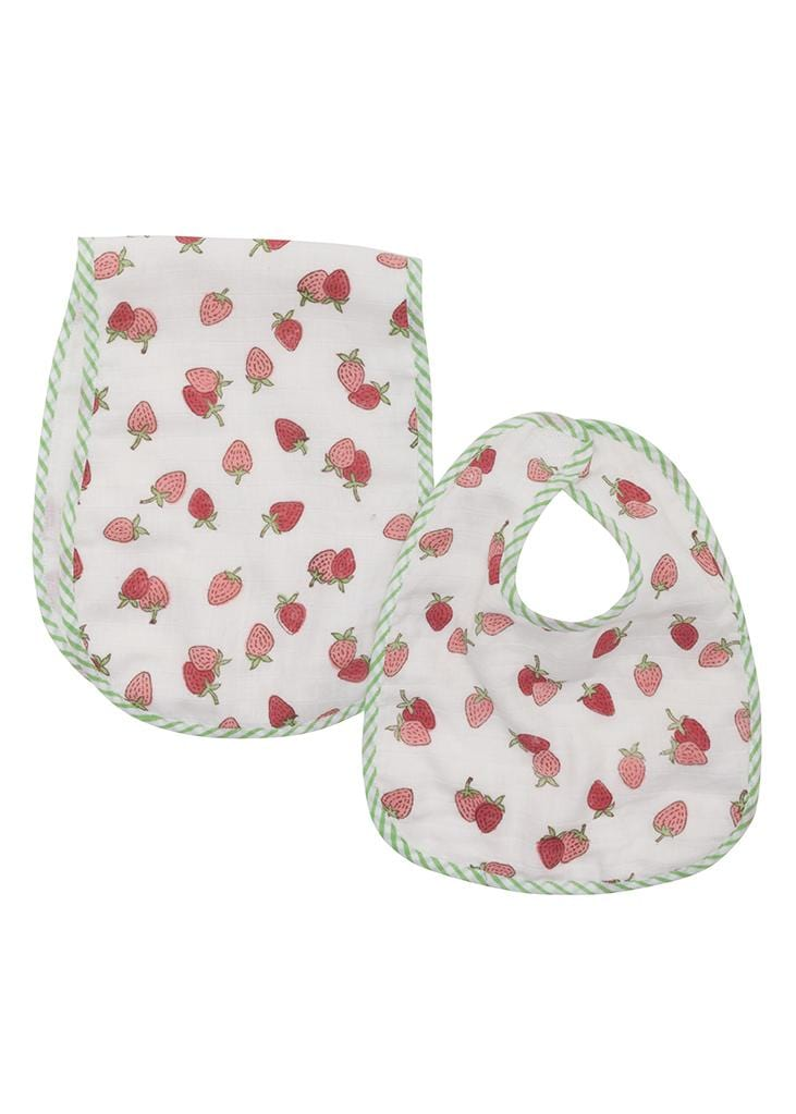 Muslin Bib and Burp Set - Strawberry, Little English, classic children's clothing, preppy children's clothing, traditional children's clothing, classic baby clothing, traditional baby clothing
