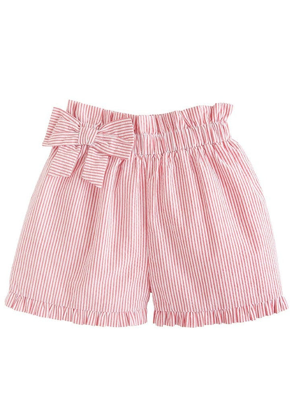 Little English girls seersucker paperbag bow shorts