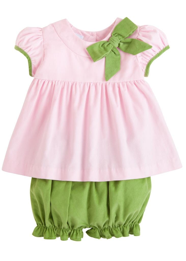 Park Avenue Bloomer Set, Little English Traditional Children's Clothing, girl's classic pink and green corduroy bloomer set