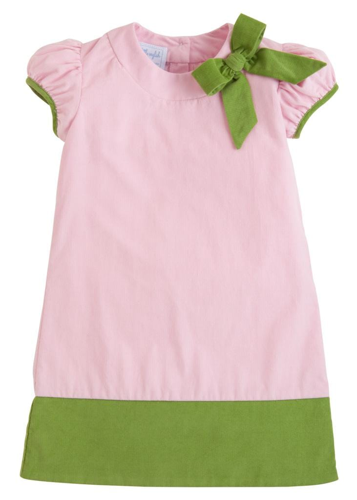 Little English classic girl's light pink corduroy dress, traditional children's clothing