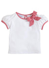 little English girls basic knit top with bow detail