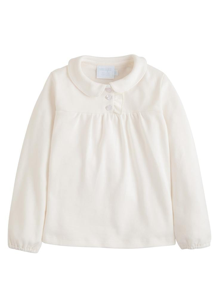 Little English classic girl's patty shirt, cream polo shirt, traditional children's clothing