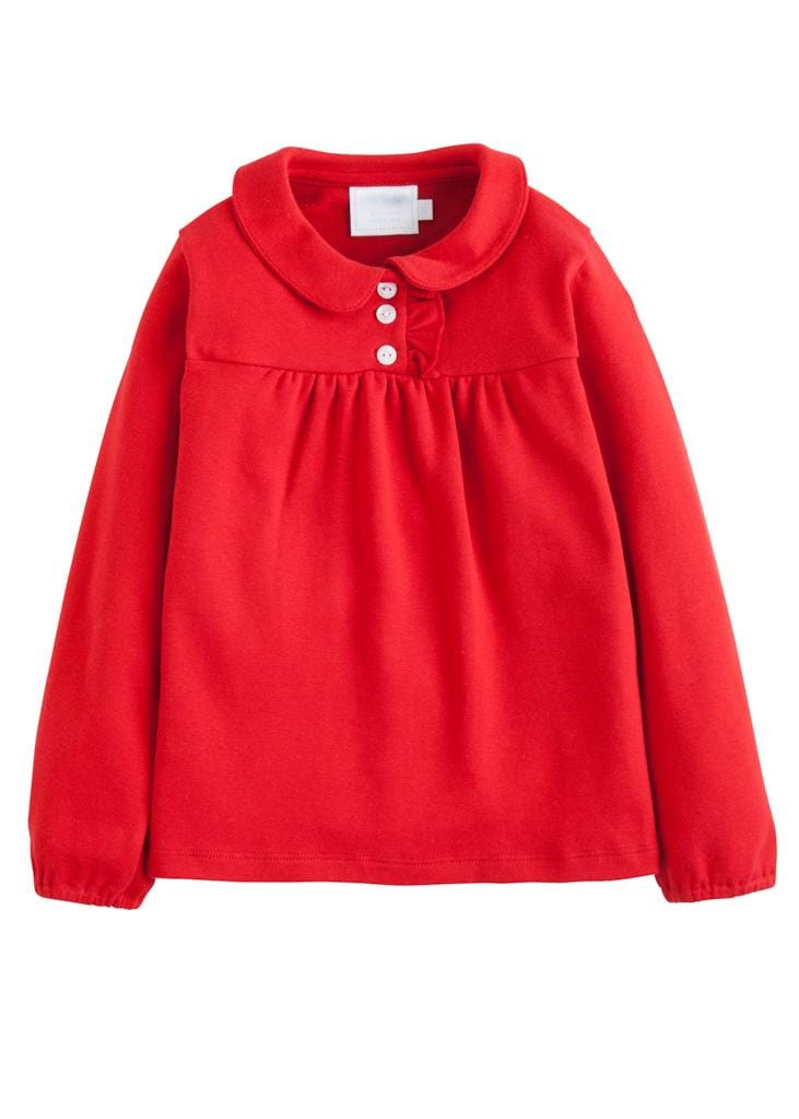 Little English classic girl's red knit polo shirt, traditional children's clothing