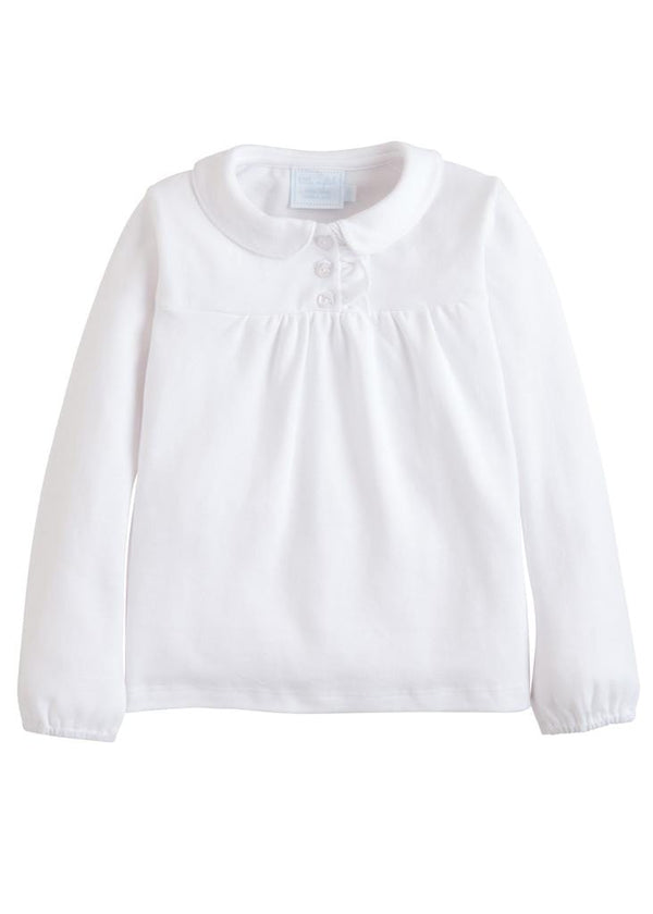 Little English classic girl's white knit patty shirt, traditional children's clothing