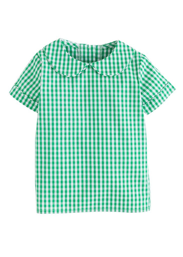 Little English boys classic green gingham peter pan shirt
