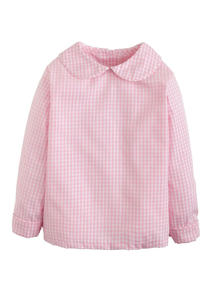 Little English boys light pink gingham shirt