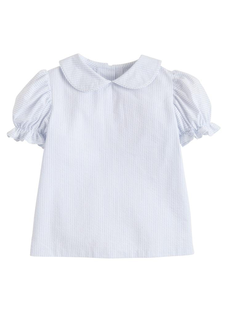 Peter Pan Blouse -Blue Seersucker, Little English, classic children's clothing, preppy children's clothing, traditional children's clothing, classic baby clothing, traditional baby clothing