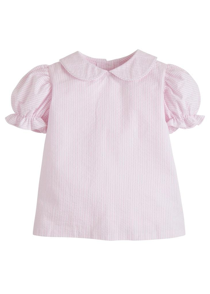 Peter Pan Blouse - Pink Seersucker, Little English, classic children's clothing, preppy children's clothing, traditional children's clothing, classic baby clothing, traditional baby clothing