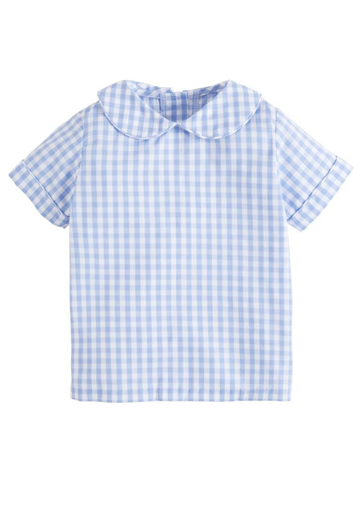 Peter Pan Shirt - Cornflower Gingham, Little English, classic children's clothing, preppy children's clothing, traditional children's clothing, classic baby clothing, traditional baby clothing